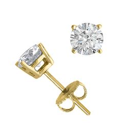 14K Yellow Gold Jewelry 1.0 ctw Natural Diamond Stud Earrings - WJA1231 - REF#121Z9T