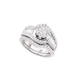 1.25 CTW Diamond Soliel Bridal Set Ring 14KT White Gold - GD46317-REF#157Y4Z