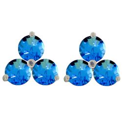 Genuine 1.5 ctw Blue Topaz Earrings Jewelry 14KT White Gold - GG#3170 - REF#18K2V