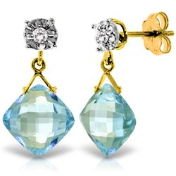 Genuine 17.56 ctw Blue Topaz & Diamond Earrings Jewelry 14KT Yellow Gold - GG#3867 - REF#48H3X