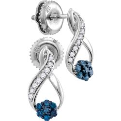 0.2 CTW White & Blue Diamond Earrings 10KT White Gold - GD110684-REF#15Y3Z