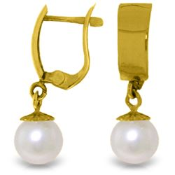 Genuine 4 ctw Pearl Earrings Jewelry 14KT Yellow Gold - GG#2873 - REF#21W2Y