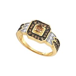 0.87 CTW White & Cognac Diamond Ladies Ring 10KT Yellow Gold - GD73039-REF#41Z3T