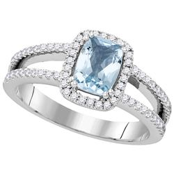 1.08 CTW Aquamarine & Diamond Ladies Ring 14KT White Gold - GD104930-REF#100S7V