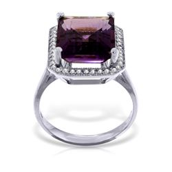 Genuine 5.8 ctw Amethyst & Diamond Ring Jewelry 14KT White Gold - GG#4870 - REF#82A2K
