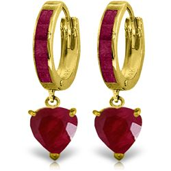 Genuine 3.65 ctw Ruby Earrings Jewelry 14KT Yellow Gold - GG#4162 - REF#67R9P