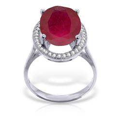 Genuine 7.93 ctw Ruby & Diamond Ring Jewelry 14KT White Gold - GG#4893 - REF#124X2M