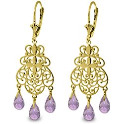 Genuine 3.75 ctw Amethyst Earrings Jewelry 14KT Yellow Gold - GG#3066 - REF#58A3K