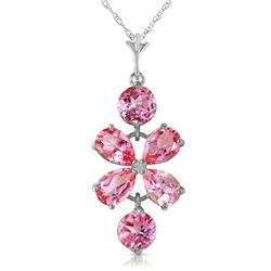 Genuine 3.15 ctw Pink Topaz Necklace Jewelry 14KT White Gold - GG#1917 - REF#30T3A