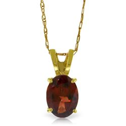 Genuine 0.85 ctw Garnet Necklace Jewelry 14KT Yellow Gold - GG#2392 - REF#14A2K