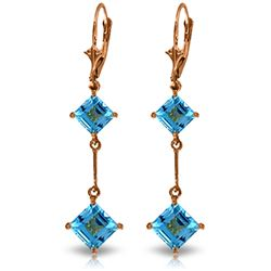 Genuine 3.75 ctw Blue Topaz Earrings Jewelry 14KT Rose Gold - GG#1364 - REF#30F6Z