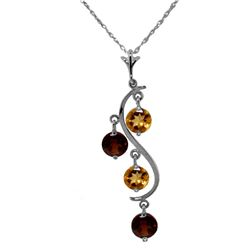 Genuine 2.3 ctw Citrine & Garnet Necklace Jewelry 14KT White Gold - GG#2096 - REF#30V2W