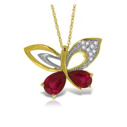 Genuine 4.38 ctw Ruby & Diamond Necklace Jewelry 14KT Yellow Gold - GG#5505 - REF#132H2X
