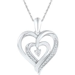 0.1 CTW Diamond Pendant White Rhodium Silver - GD108581-REF#10A2X