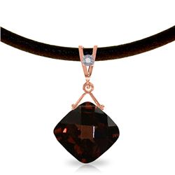 Genuine 8.76 ctw Garnet & Diamond Necklace Jewelry 14KT Rose Gold - GG#4099 - REF#46V2W