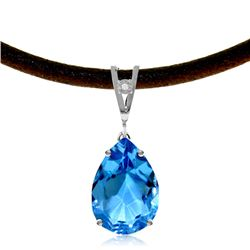 Genuine 6.01 ctw Blue Topaz & Diamond Necklace Jewelry 14KT White Gold - GG#4118 - REF#32F3Z