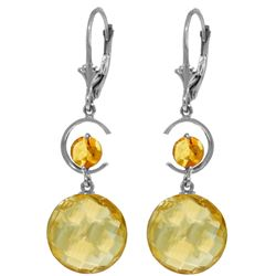Genuine 11.6 ctw Citrine Earrings Jewelry 14KT White Gold - GG#4516 - REF#47X5M