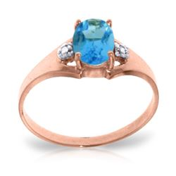 Genuine 0.76 ctw Blue Topaz & Diamond Ring Jewelry 14KT Rose Gold - GG#1317 - REF#20F8Z