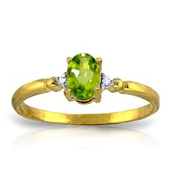 Genuine 0.46 ctw Peridot & Diamond Ring Jewelry 14KT Yellow Gold - GG#1221 - REF#27F3Z