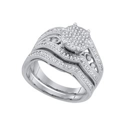0.35 CTW Diamond Bridal Set Ring 10KT White Gold - GD79698-REF#49S4V