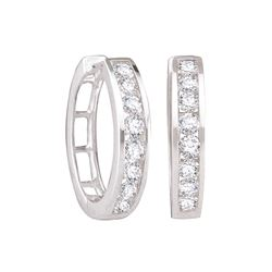 0.25 CTW Diamond Hoop Earrings 14KT White Gold - GD34309-REF#26K9R
