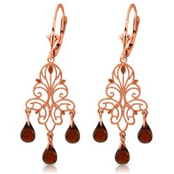 Genuine 3.75 ctw Garnet Earrings Jewelry 14KT Rose Gold - GG#1729 - REF#46M7T
