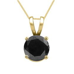 14K Yellow Gold Jewelry 1.0 ct Black Diamond Solitaire Necklace - WJA1151 - REF#51A8N