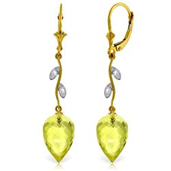 Genuine 18.02 ctw Lemon Quartz & Diamond Earrings Jewelry 14KT Yellow Gold - GG#4726 - REF#45K8V