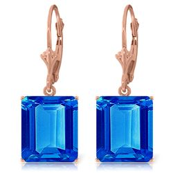 Genuine 13 ctw Blue Topaz Earrings Jewelry 14KT Rose Gold - GG#2898 - REF#54H2X