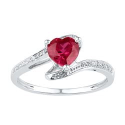 1.01 CTW Ruby & Diamond Ladies Ring White Rhodium Silver - GD101256-REF#4G9M