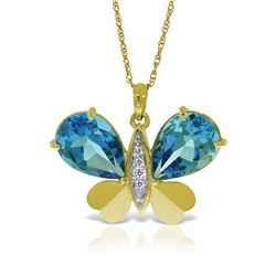 Genuine 9.1 ctw Blue Topaz & Diamond Necklace Jewelry 14KT Yellow Gold - GG#5493 - REF#128W2Y