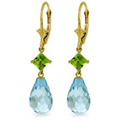 Genuine 11 ctw Blue Topaz & Peridot Earrings Jewelry 14KT Yellow Gold - GG#4545 - REF#39M3T