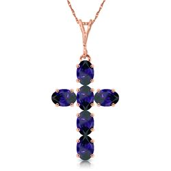 Genuine 1.5 ctw Sapphire Necklace Jewelry 14KT Rose Gold - GG#3777 - REF#36T5A