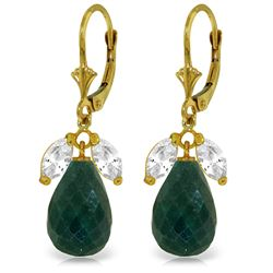 Genuine 18.6 ctw White Topaz & Green Sapphire Earrings Jewelry 14KT Yellow Gold - GG#3403 - REF#46T7