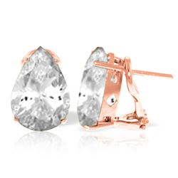 Genuine 10 ctw White Topaz Earrings Jewelry 14KT Rose Gold - GG#2447 - REF#50N7R
