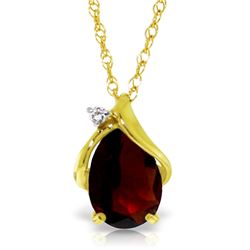Genuine 2.03 ctw Garnet & Diamond Necklace Jewelry 14KT Yellow Gold - GG#5150 - REF#30F5Z