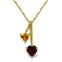 Genuine 1.4 ctw Garnet & Citrine Necklace Jewelry 14KT Yellow Gold - GG#2460 - REF#23K8V