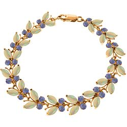 Genuine 10.5 ctw Opal & Tanzanite Bracelet Jewelry 14KT Rose Gold - GG#2632 - REF#211X3M