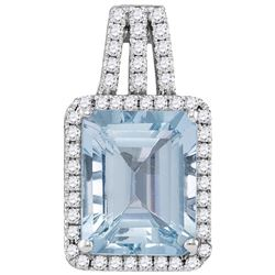 2.9 CTW Aquamarine & Diamond Pendant 14KT White Gold - GD104937-REF#129F4N