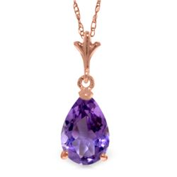 Genuine 1.5 ctw Amethyst Necklace Jewelry 14KT Rose Gold - GG#1870 - REF#19W4Y