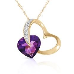 Genuine 3.2 ctw Amethyst & Diamond Necklace Jewelry 14KT Yellow Gold - GG#5507 - REF#49F6Z