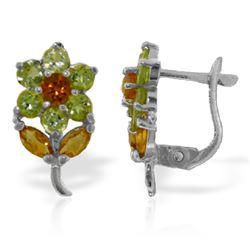 Genuine 2.12 ctw Citrine & Peridot Earrings Jewelry 14KT White Gold - GG#2364 - REF#36H8X