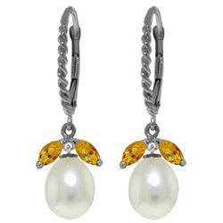 Genuine 9 ctw Citrine & Pearl Earrings Jewelry 14KT White Gold - GG#3137 - REF#39R3P