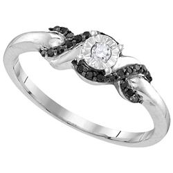 0.15 CTW White & Black Diamond Ladies Ring White Rhodium Silver - GD110784-REF#12K3R
