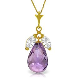 Genuine 7.2 ctw Amethyst & White Topaz Necklace Jewelry 14KT Yellow Gold - GG#4430 - REF#30H5X