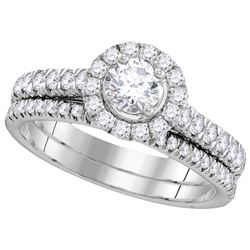 1.33 CTW Diamond Bridal Set Ring 14KT White Gold - GD106268-REF#152S8V