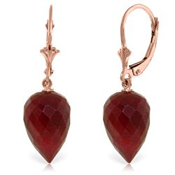 Genuine 26.1 ctw Ruby Earrings Jewelry 14KT Rose Gold - GG#4681 - REF#37W8Y