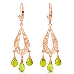 Genuine 3.75 ctw Peridot Earrings Jewelry 14KT Rose Gold - GG#1467 - REF#45P8H