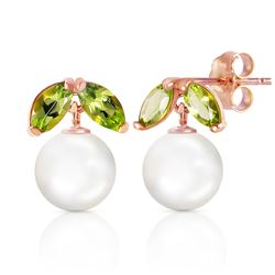 Genuine 4.4 ctw Pearl & Peridot Earrings Jewelry 14KT Rose Gold - GG#3072 - REF#17K3V
