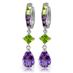 Genuine 5.38 ctw Peridot & Amethyst Earrings Jewelry 14KT White Gold - GG#2029 - REF#62Y7F